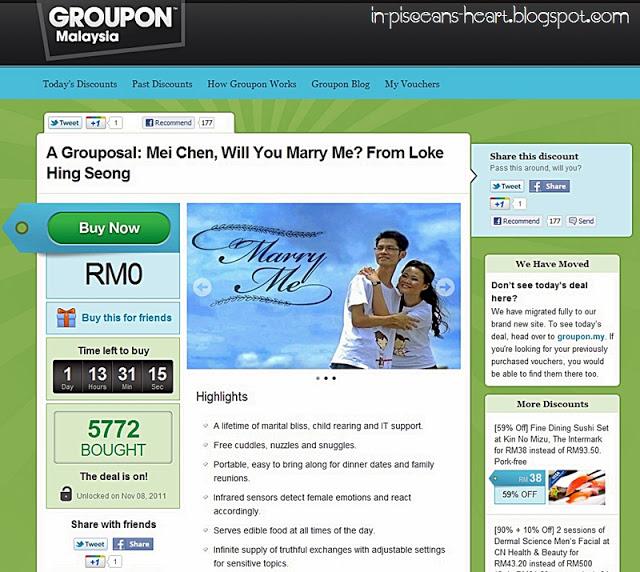 Groupon Proposal 1 | A Grouposal: Mei Chen, Will You Marry Me? From Loke Hing Seong