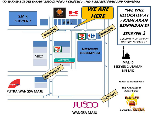 Map to Kaw Kaw Burger Bakar
