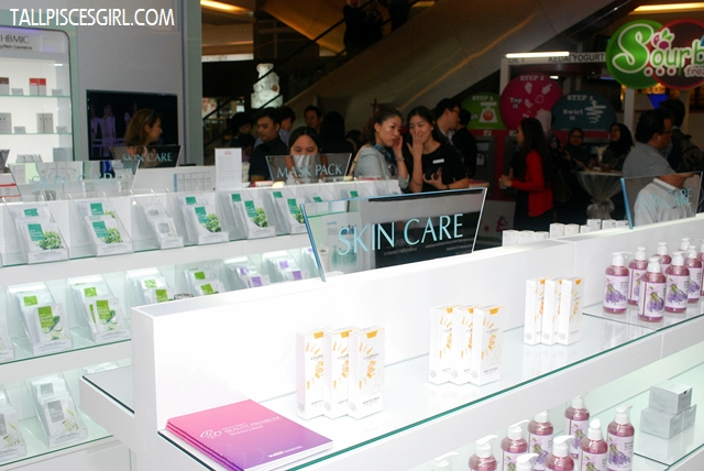 Masks and skincare products display
