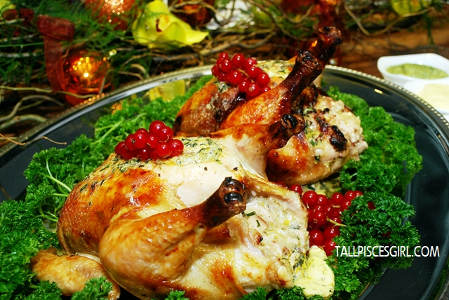 Tarragon de paris butter roast chicken stuffed with smoked turkey