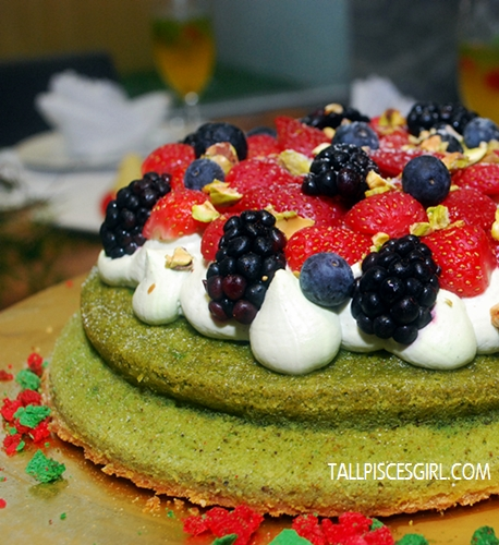 Pistachio Gateau with Mousseline Cream and Mixed Berries