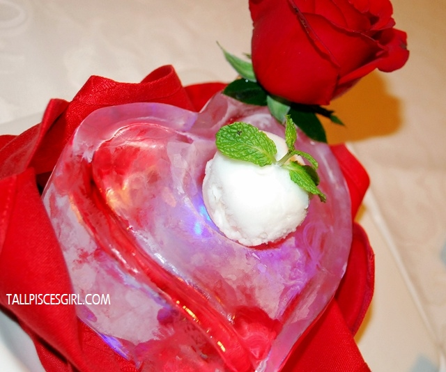 Orange Sorbet on Love Shape Ice Carving