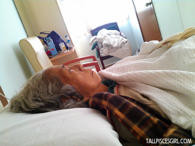 Secretly snapped grandma's photo. The medication is making her drowsy.