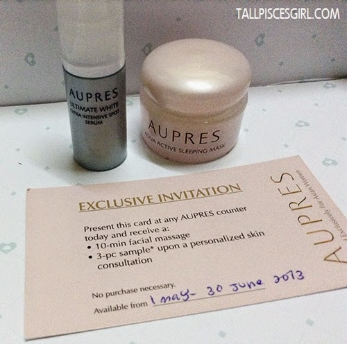 Aupres Ultimate White Extra Intensive Spot Serum & Aupres Aqua Active Sleeping Mask