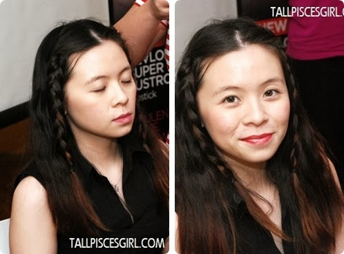 Before (left) and after (right) applying Revlon Super Lustrous Lipstick