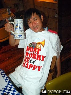 Won himself a T-shirt and he's pretending drunk already!