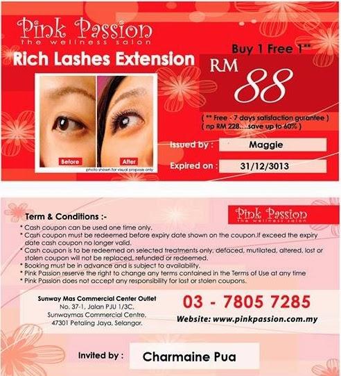 Charmaine Pua Pink Passion voucher | Review: Eyelash Extension @ Pink Passion, Aman Suria