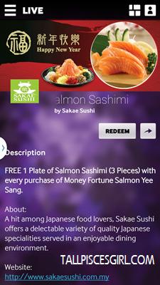 SAKAE SUSHI Free Salmon Sashimi deal
