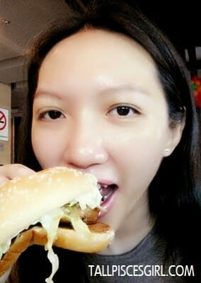 Enjoying my GCB. My mouth is not as big as the burger's LOL!