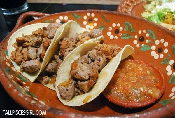 Tacos de Bistec con Chorizo