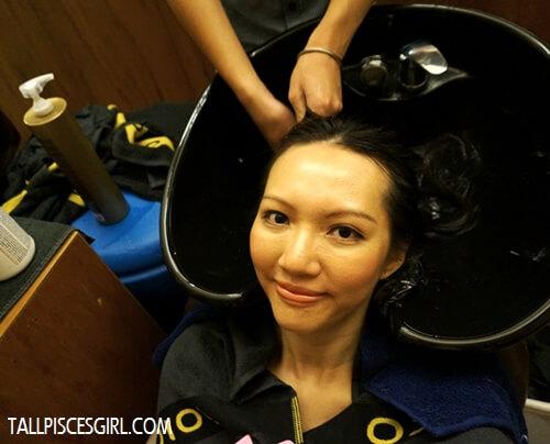 Enjoying JOICO K-Pak 4 Step System hair pampering session