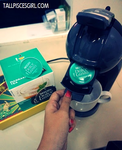 Preparing my tea with Nescafe Dolce Gusto Mini Me