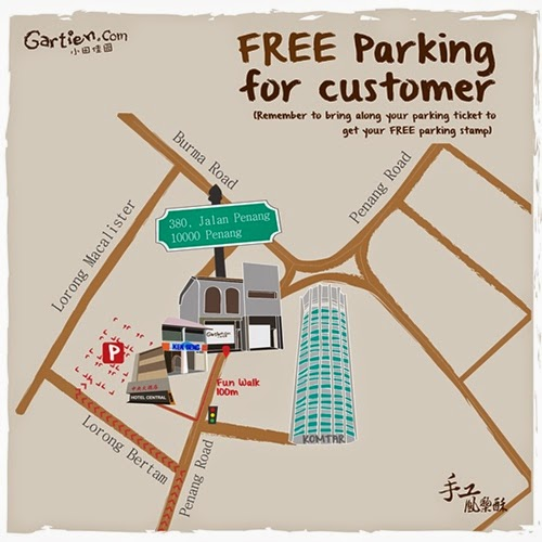 Free parking provided for Gartien customers just 100m away!
