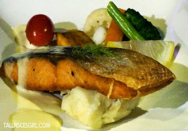 Grilled Salmon - Served with seasonal vegetables with lemon butter sauce (RM 28)