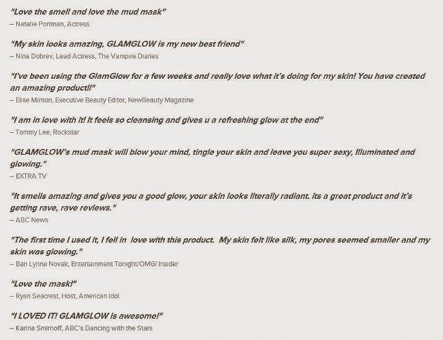 GlamGlow Celebrities' Testimonial
