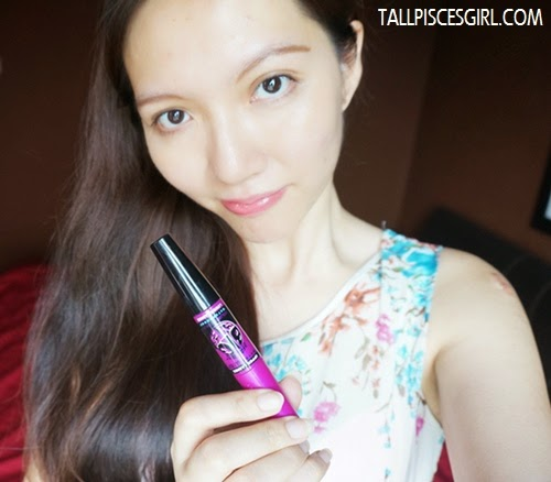 Final look with Maybelline Volum' Express The Falsies Big Eyes Mascara and Maybelline Lip Polish Glam 2