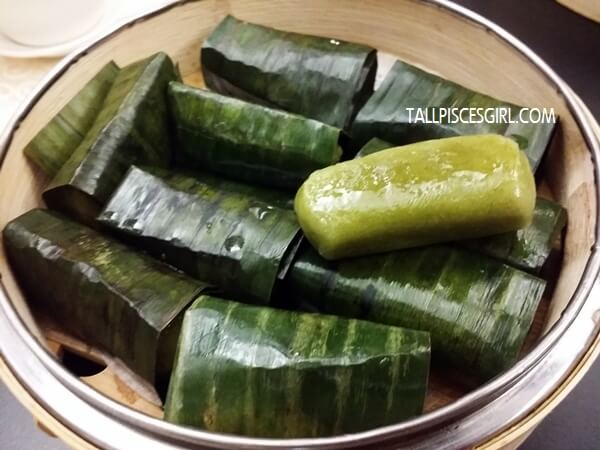 Steamed Glutinous Rice with Chicken Floss wrapped in Banana Leaf