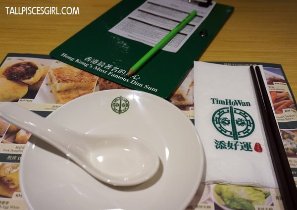 Tim Ho Wan's tableware and order chit