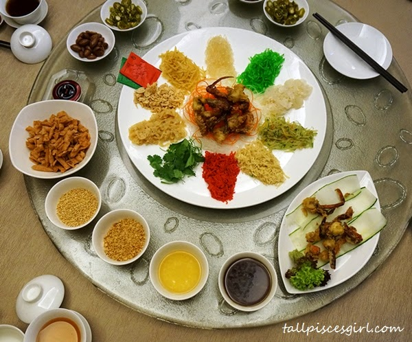 Yee Sang and various condiments