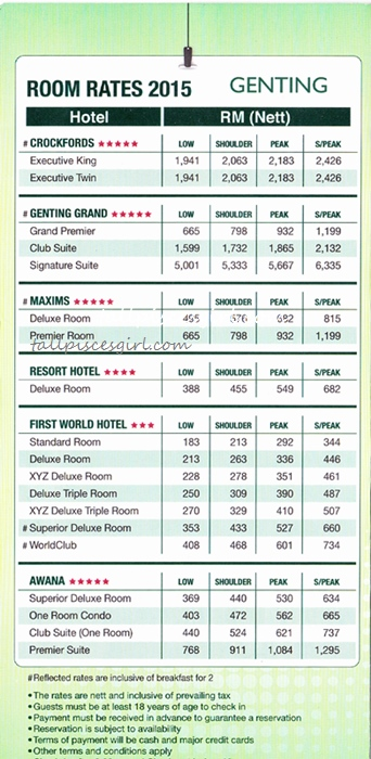 Genting Room Rates 2015