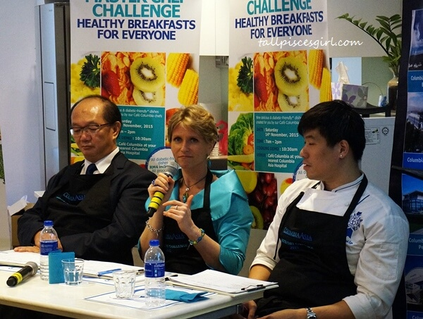 Judging at Columbia Asia Master Chef Challenge 2015: Kelvin Tan, CEO of Columbia Asia South East Asia; Nathalie Seroux, Regional Marketing Manager of Columbia Asia and Chef David Lee