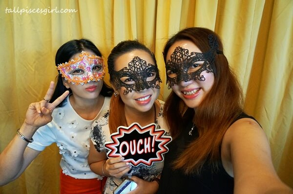 With Kelly Chin and Fiona Loh: We had to wear a masquerade mask to hide our wrinkles because we haven't start using Youth-Inducing Eye Cream yet!