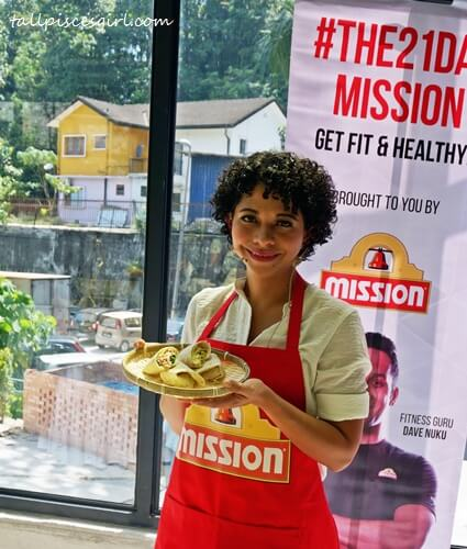 Celebrity nutritionist, Alexandra Prabaharan, with the wraps prepared during cooking demo