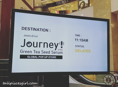 "This status cracked us up! Our Journey of The Green Tea Seed Serum ""flight"" was delayed. It's just 10 minutes delay actually!"