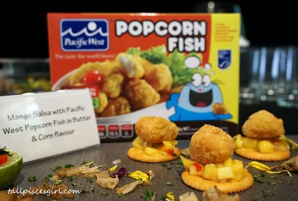 Mango Salsa with Pacific West Popcorn Fish in Butter and Corn Flavor
