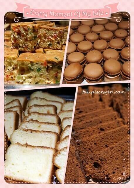 Fruit cakes, macaron, traveller's cakes