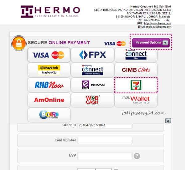 Hermo x MOLPay Step 6 - Choose 7-Eleven as Payment Option