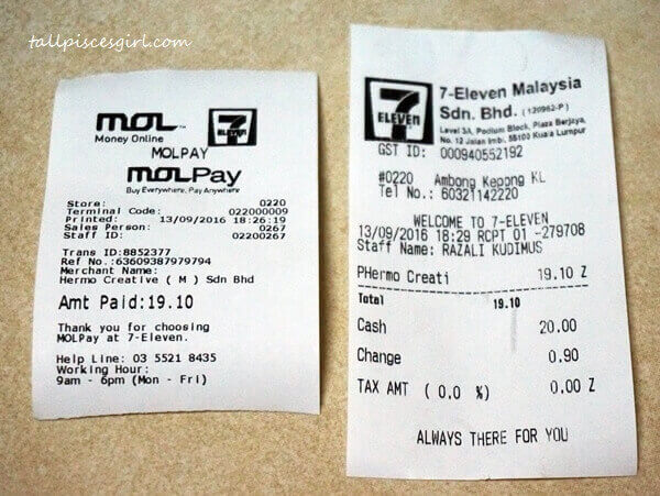 Receipts from 7-Eleven for MOLPay