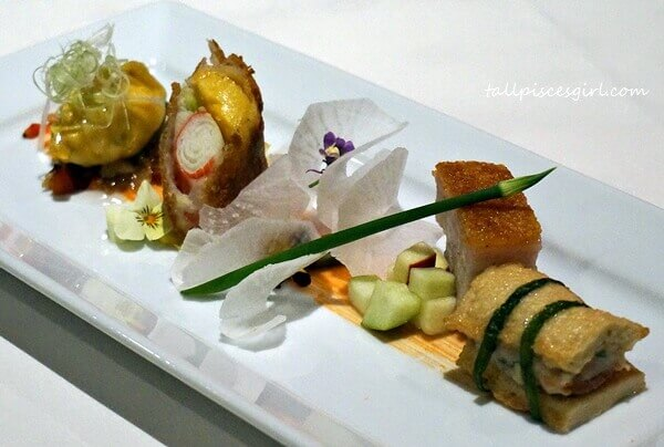 MIGF 2016 Menu @ Dynasty Restaurant: XO Fortune Money Bag with Bean Curd Folder, Crispy Pork Belly with Apple, Seafood wrapped in Rice Paper