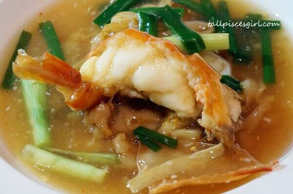 MIGF 2016 Menu @ Dynasty Restaurant: King Prawn with Ginger and Scallion, Flat Noodles