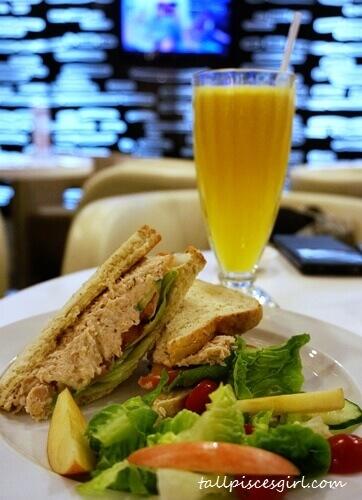 Tuna Club Sandwich and Orange Juice @ Phillip Wain Healthy Food Bar