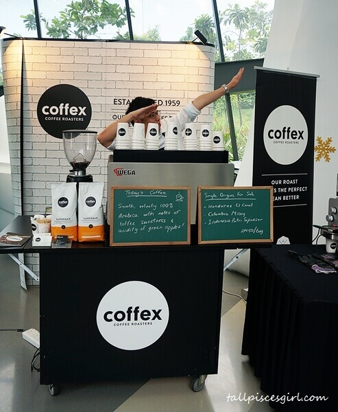 An epic pose by Coffex Coffee's barista of the day!