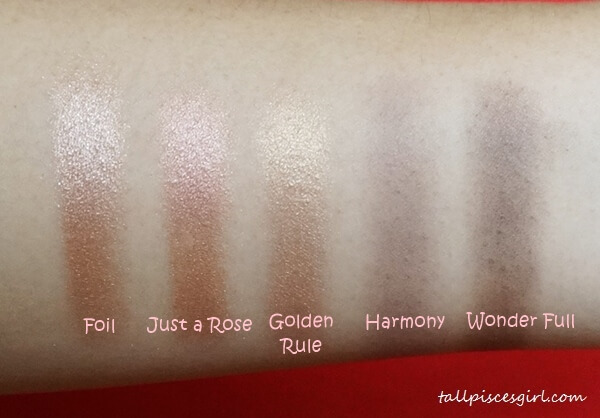 Swatches: Foil, Just a Rose, Golden Rule, Harmony, Wonder Full