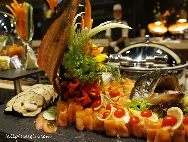 Poached Whole Salmon with Smoked Seafood