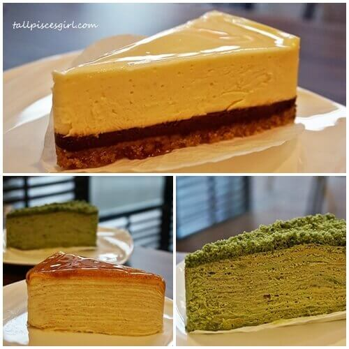 Top: Lemon Chocolate Cheese Cake | Bottom: Creme Brulee Mille Crepe & Matcha Green Tea Mille Crepe