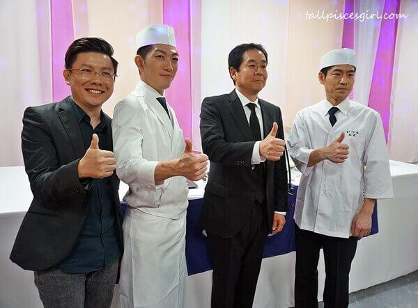 Mr. Xavier Mah, Mr. Ken Fukutake, General Manager of Media Content Planning Department, Dai Nippon Printing Co. Ltd., Chef Shogo Sasaki and Chef Takeshi Matsuo, head chef of IZUU Restaurant