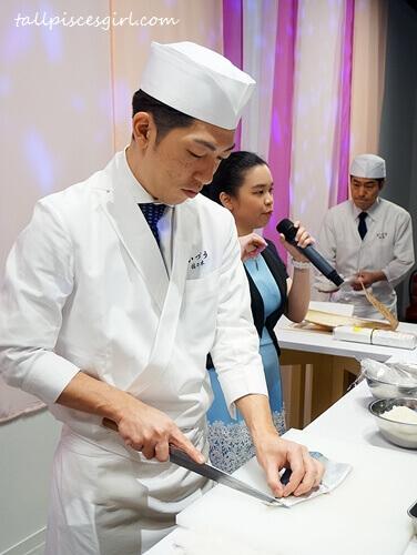 Chef Sasaki prepares mackerel