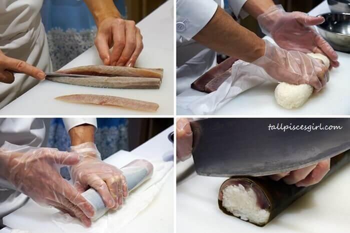 Chef Shogo Sasaki demonstrates how he prepare Saba-sugatazushi