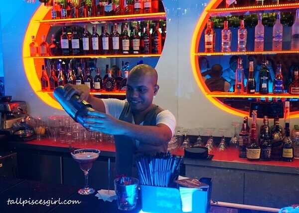 The bartender shows us how the cocktails were prepared