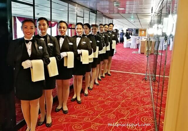 We were greeted by steward attendants who stood in line