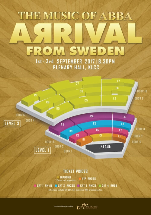 Arrival from Sweden - The Music of Abba Seating Plan