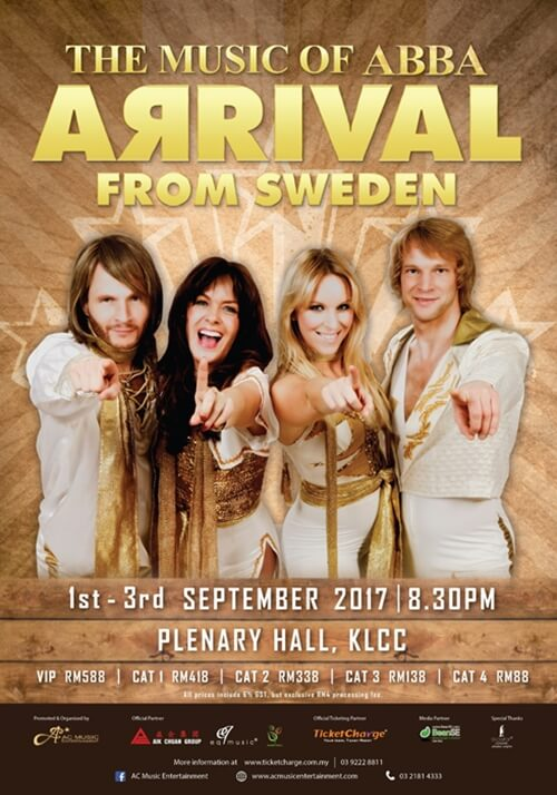 Music of Abba - Arrival from Sweden in Malaysia Concert Poster