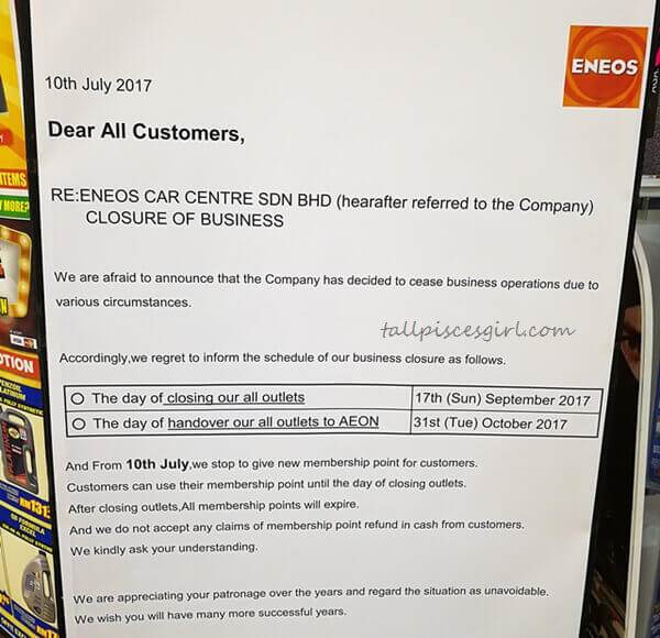 Official Closure Notice from ENEOS Malaysia