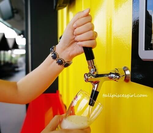 Angle your glass to 45 degrees and start dispensing your favorite beer