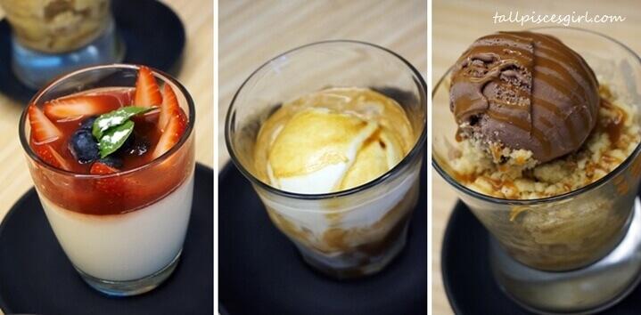 Panna Cotta (RM 10), Affogato (RM 9), Banana Crumble with Chocolate Ice Cream (RM 13)