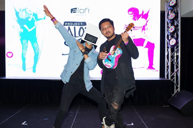 """PROJECT ALOFT STAR, AMPLIFIED BY MTV"" Music Talent Discovery Competition 2017 Winner Mr.HeadBox (left) with his producer (right)"